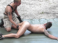 outdoors leather flogging restraints tattoos