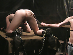 restraints bdsm twinks dungeon chains leather flogging cockring masturbation shot